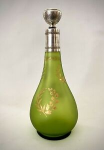 19 Century French Green Glass Decanter Gold Overlay Silver Minerva Mark 950 1000