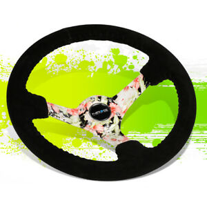 Nrg Rst 036fl s 350mm 3 deep Dish Suede Floral Spoke Steering Wheel horn Button