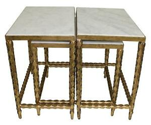 Beautiful Set Of 3 Marble Top Antique Gold Iron Nesting Coffee Side Tables