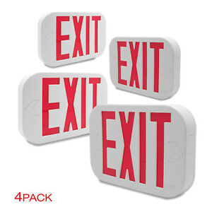 Etoplighting 4 Pack Exit Emergency Led Sign Red Letter Light Low Voltage White