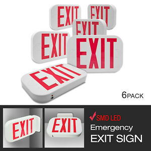 Etoplighting 6 Pack Exit Emergency Led Sign Red Letter Light Low Voltage White