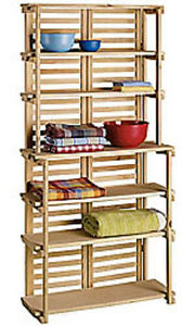 Wooden Baker s Rack 6 Shelf Wood Retail Floor Display Merchandiser 70 X 34