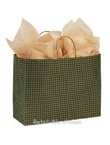 Paper Shopping Bags 100 Green Gingham Gift Retail Merchandise 16 X 6 X 12 Vogue