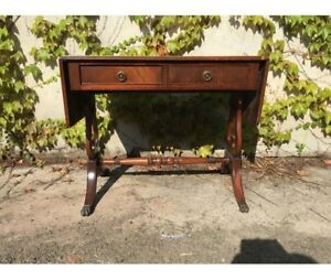 Antique English Writing Desk With Wings In Mahogany