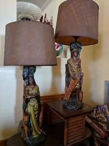 Pair Of Vintage Native Hawaiian Polynesian Man Woman Figural Lamps 1950s