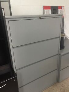 4 Drawer Lateral Size File Cabinet By Kimball Office Furniture In Gray Laminate