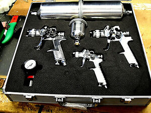 8 Pc Professional Hvlp Paint Gun Set Inc Padded Aluminum Kit Gravity New