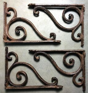 Set Of 4 Rustic Brown Scroll Brace Bracket Vintage Looking Patina Finish