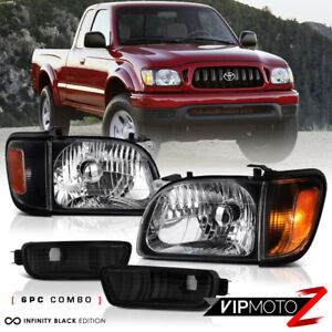 For 2001 04 Toyota Tacoma 2d 4wd Pickup Black Headlight Amber Signal Left Right
