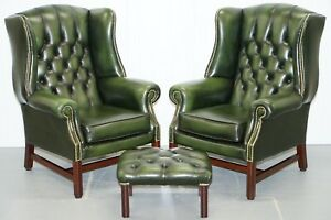 Large Pair Of Luxury Green Leather Chesterfield Wingback Armchairs