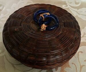 Antique Victorian Chinese Sewing Basket With 2 Cobalt Blue Attached Rings