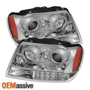 Fit 1999 04 Jeep Grand Cherokee Halo Projector Headlights Replacement 2000 2001