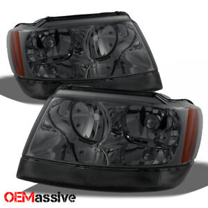Fit 99 04 Jeep Grand Cherokee Smoked Headlights Headlamps L r 2000 2001 2002
