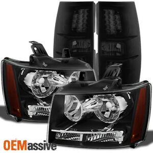 Fit 2007 2014 Chevy Suburban Tahoe Black Headlights black Smoked Led Tail Lights