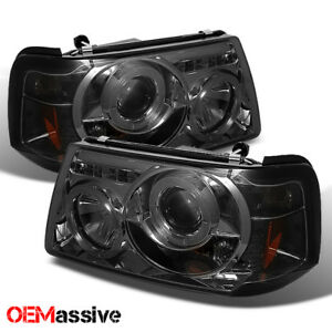 Fits 01 11 Ford Ranger Pickup Truck 1pc Smoke Dual Halo Projector Headlights