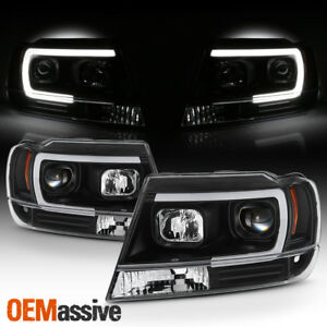 Fits 1999 2004 Jeep Grand Cherokee Black Full Led Drl Tube Projector Headlights