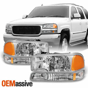 Fit 1999 06 Gmc Sierra Yukon Clear Headlights Bumper Signal Lamps Replacement