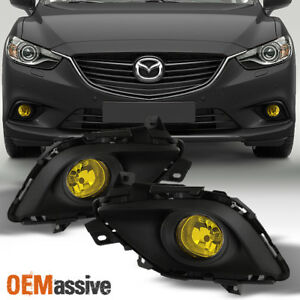 Fit 2014 2015 Mazda 6 4dr Yellow Bumper Fog Lights W Switch Bulbs Replacement