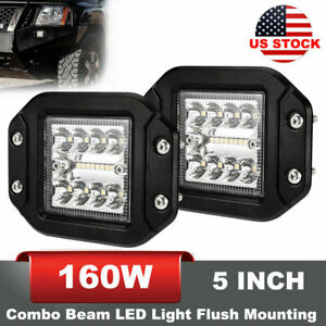 16000lm 5 Inch 2x Flush Mounting Combo Beam Led Work Light Bar Off Road Driving