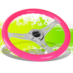 Nrg St 015ch Npk 350mm Chrome 3 Spoke Neon Pink Wood Grain Grip Steering Wheel
