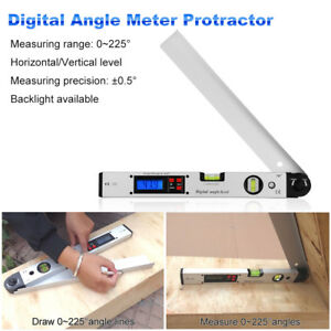 0 225 Degree Protractor Spirit Level Digital Angle Meter With Lcd Display Us