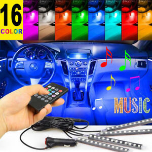 12 Led Lamp Lights Car Charge Interior Accessories Floor Decorative Atmosphere