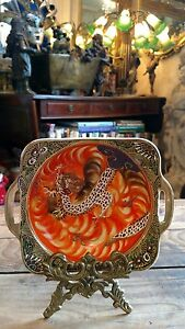 Stunning Asian Hand Painted Bowl Showing A Dragon This Item Is Signed