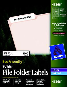 Avery Eco friendly File Folder Labels 2 3 X 3 7 16 Inches White Pack Of 1500