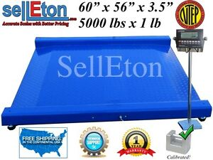 New Industrial Warehouse Ntep Drum Scale 60 X 56 Floor Scale 5000 Lbs X 1 Lb