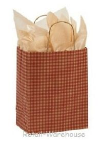 Paper Shopping Bags 100 Red Gingham Gift Retail Merchandise 8 X 4 X 10 Cub