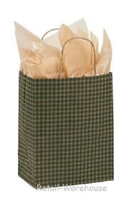 Paper Shopping Bags 100 Green Gingham Gift Retail Merchandise 8 X 4 X 10