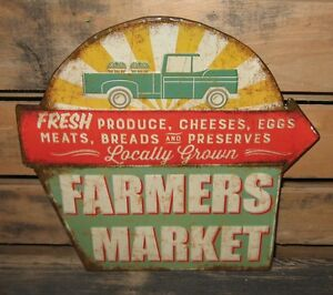 Embossed Farmers Market Sign Primitive French Country Kitchen Farmhouse Decor