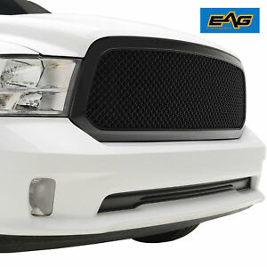 Eag Ram Replacement Grille For 13 18 Dodge Ram 1500 Matter Black Mesh Grill