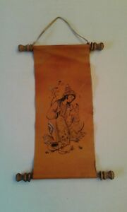 Vintage Japanese Ink Drawing On Leather Scroll