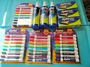 Expo Low odor Dry Erase 32 Vibrant Markers 3 Eraser 3 Cleaner New Free Ship