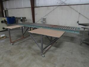 Packing Table With 10ft Hytrol Roller Conveyor And Two Work Surface On Casters