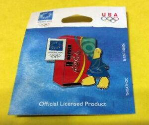 2004 ATHENS SUMMER OLYMPICS COCA-COLA MACHINE WITH MASCOT PIN