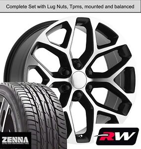 22 Inch Wheels And Tires For Gmc Sierra 1500 Replica Ck156 Black Machined Rims