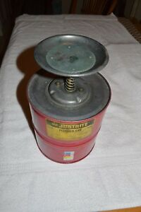 Justrite Safety Can Plunger Safety Can 10308 1 Gallon Capacity Used