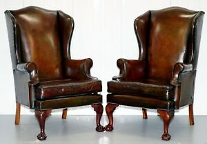 Stunning Pair Of Fully Restored Claw Wingback Cigar Brown Leather Armchairs