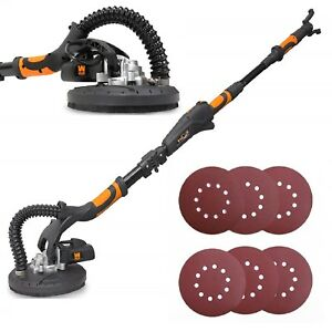 Electric Drywall Sander Foldable Variable Speed 9inch 6 Sanding Discs swivel Hea