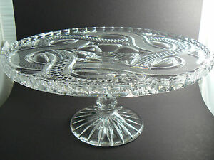 Vintage Crystal Creal Cut Glass Cake Stand Plate Pedestal 12 5 1 2 Tall