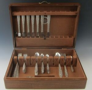 54 Piece National Silver Co Flatware Narcissus Repousse Pattern