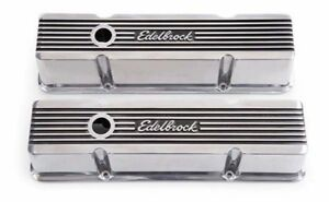 Edelbrock 4263 1959 86 Sb Chevy Elite Ii Series Tall Polished Valve Covers