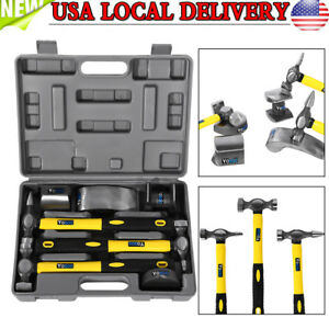 New 7pcs Hand Car Auto Body Work Hammer Dolly Fender Tool Dent Repair Set Kit
