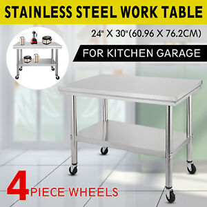 Stainless Steel Kitchen Prep Work Table 4 Casters wheels 30 In X 24 In