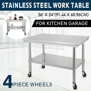 36x24 Stainless Steel Work Table 4 Caster Easy Cleaning Janitorial Room Silver