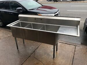 L j Commercial 3 Compartment S s Sink 18 x18 W Right Drainboard Used