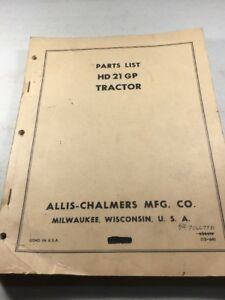 Allis Chalmers Hd21gp Tractor Parts Catalog Manual