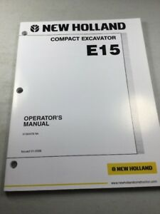 New Holland E15 Excavator Operators Manual
